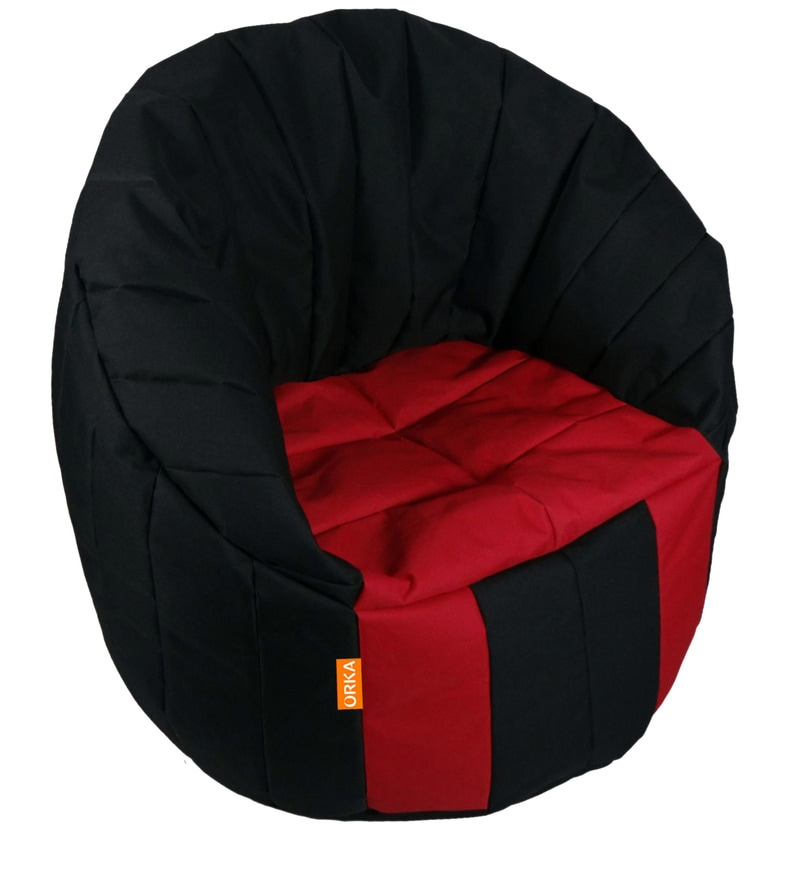 Big Boss XXXL Bean Bag (Without Beans) Chair Cover in Black & Red Colour by Orka