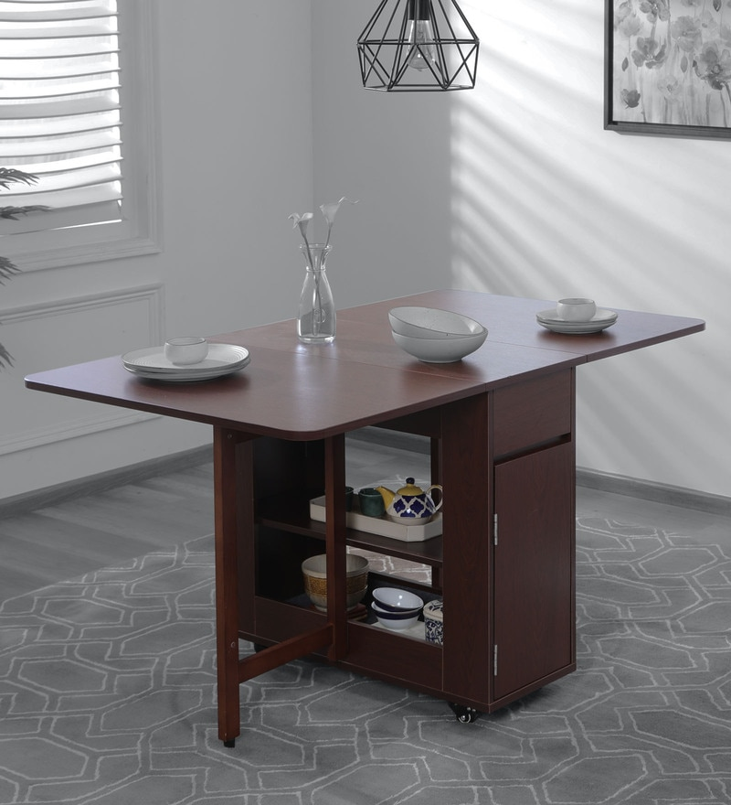 buy bishop 6 seater foldable dining table in walnut finish