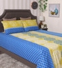 Bianca Blue and Yellow 100% Cotton Queen Size Bedsheet - Set of 3