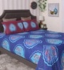Bianca Navy Blue 100% Cotton Queen Size Bedsheet - Set of 3