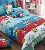 BIANCA Peek-A-Boo Single-Size Cotton Bedsheet in Blue with Pillow Covers (Set of 2)