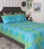 Bianca Turquoise 100% Cotton King Size Bedsheet - Set of 3