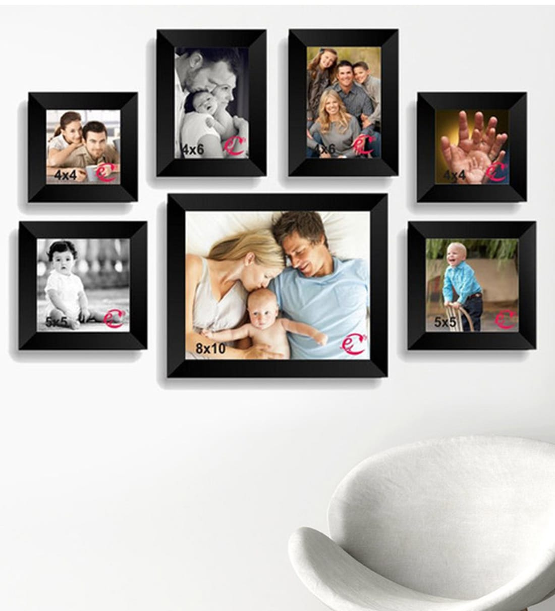 Buy Black Wood Wall Collage Photo Frame Set Of 7 By Ecraftindia Online Collage Photo Frames Photo Frames Home Decor Pepperfry Product