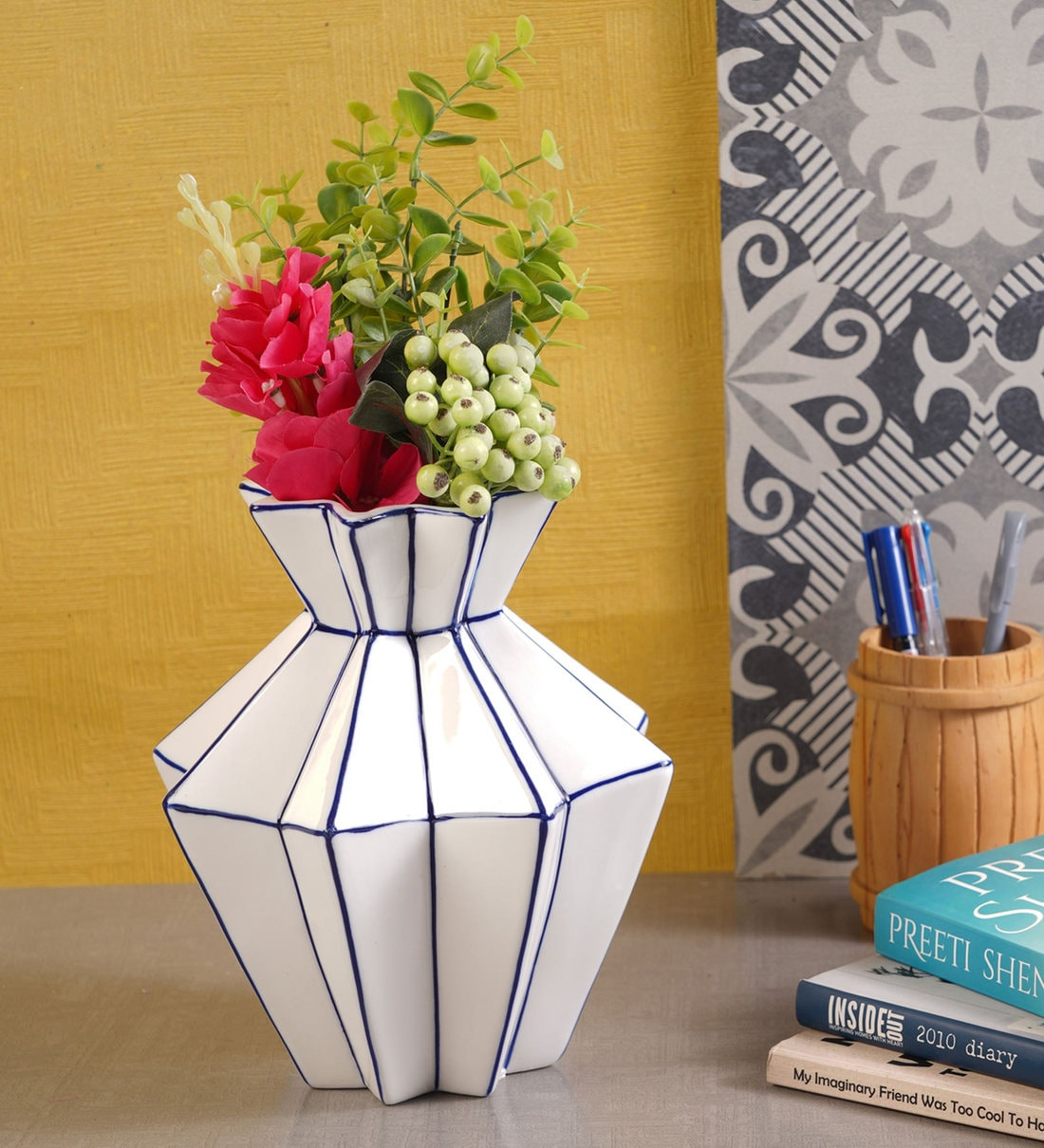 Buy Blue White Ceramic Geometric Star Table Vase By Mangal Momnets Online Eclectic Vases Vases Home Decor Pepperfry Product