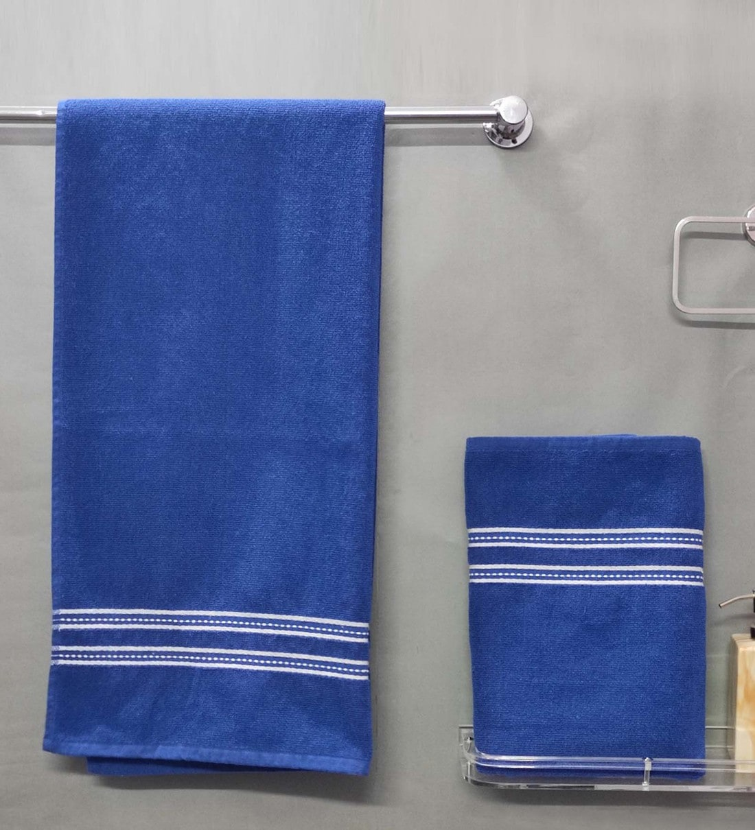 Buy Blue Cotton 400 Gsm Bath Towels Set Of 2 By Cotton Boll Textiles Online Solid Colour Bath Towels Bath Towels Furnishings Pepperfry Product