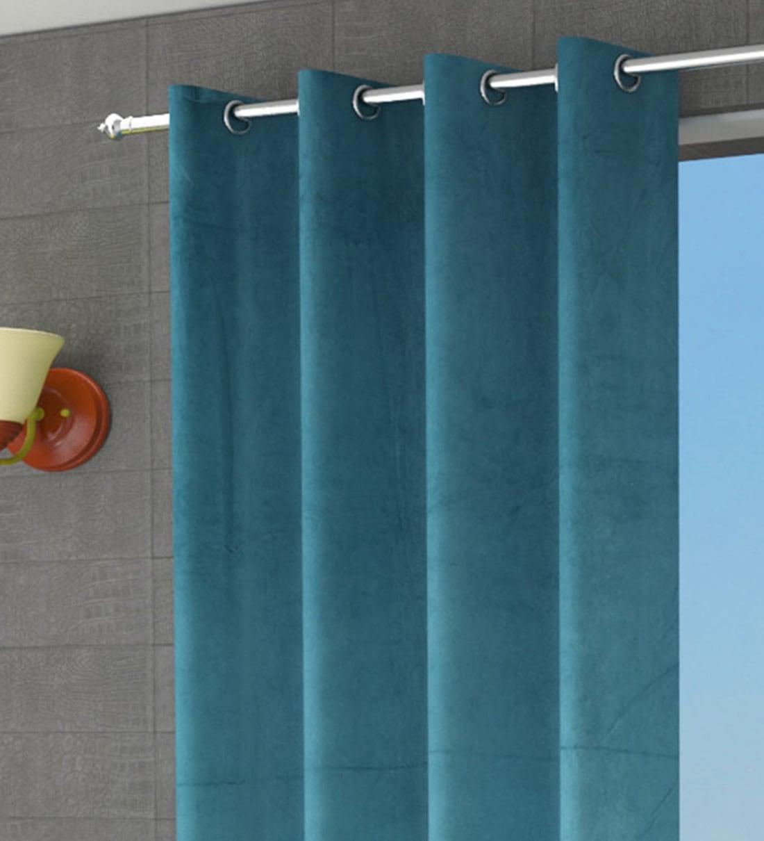Buy Blue Semisheer Velvet 9 Feet Eyelet Long Door Curtains Set Of 2 By Home Attire Online Solid Colour Curtains And Drapes Curtains And Drapes Furnishings Pepperfry Product