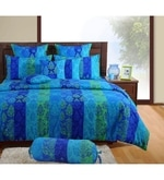 Blue Cotton King Size Bedsheet - Set of 3
