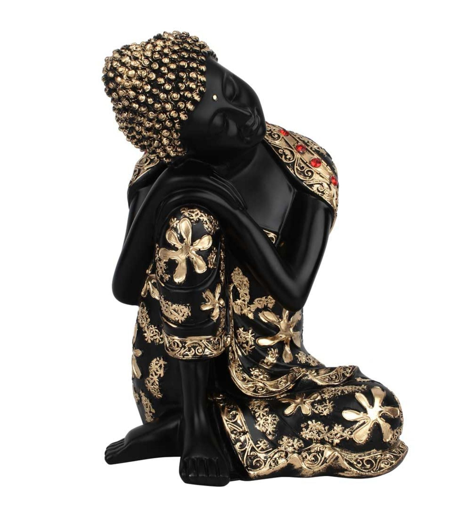 Black and Gold Polyresin Resin Craft Bodhisatva Thinking Buddha Home Decor Statue For Sale by Statue Studio