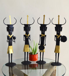Black & Gold Wrought Iron Musician Set Of 4 Figurine - 1714653