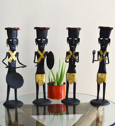 Black & Gold Wrought Iron Musician Set Of 4 Figurine
