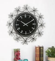 Black & White Metal & Acrylic Wall Clock Flora Blk Dia 65Cm