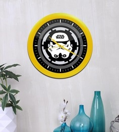 Black & Yellow Acrylic & Glass 10 X 2 X 10 Inch Storm Trooper Digital Printed Analog Wall Clock