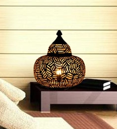 Black And Gold Iron Moroccan Matki Handmade Table Lamp