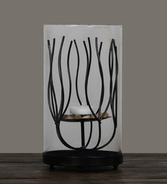 Black Glass & Metal Candleworks Harvest Of The Dancing Branches Pillar Candle Holder