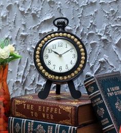 Black Mango Wood And Pine Wood Table Clock