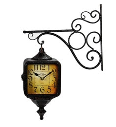 Black Metal 21 X 4 X 15 Inch Wall Hanging Clock