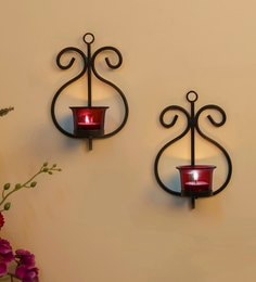 Black Metal Wall Candle Holder  - Set Of 2