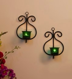 Black Metal Wall Candle Holder - Set Of 2 - 1686081
