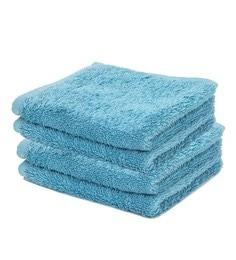Blue 100% Cotton Face Towels - Set Of 4