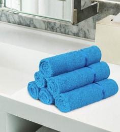 Blue 100% Cotton Face Towels - Set Of 6