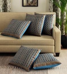 Brown, 16X16-inch Diwali /& Christmas Dupion Silk Golden Leaves Cushion Covers