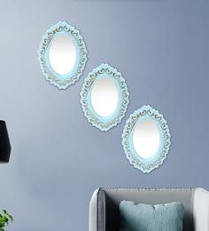 Blue Plastic Decorative Oval Shape Wall Mirror - Set Of 3