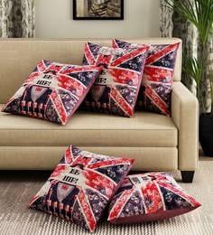 Blue/Red Velvet Digital Print Set Of 5 Cushion Covers