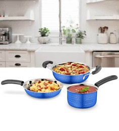 Blue Stainless Steel Cookware Set - Set Of 3 - 1614527