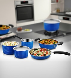 Blue Stainless Steel Cookware Set - Set Of 5 - 1614538