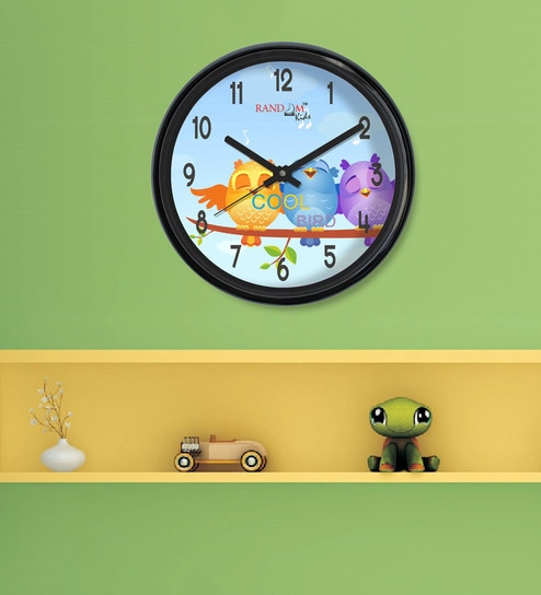 Buy Black & Blue Plastic Cool Birds Kids Clock by Random Online ...