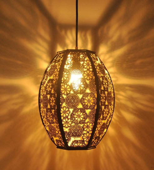 superior quality ba127 59767 Black and Gold Metal Turkish Hanging Light by Logam