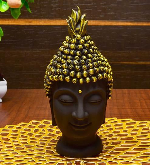 Black & Gold Resin Buddha Head Idol by Karigaari India