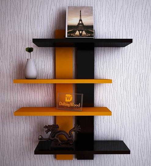 Buy 4 Tier Ladder Wall Shelf In Black Amp Orange Finish By