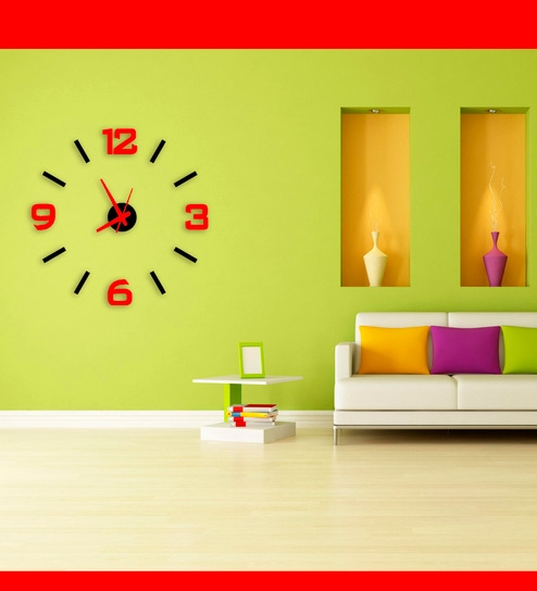 Black & Red Eva Foam and Aluminium Wall Clock by Timeit