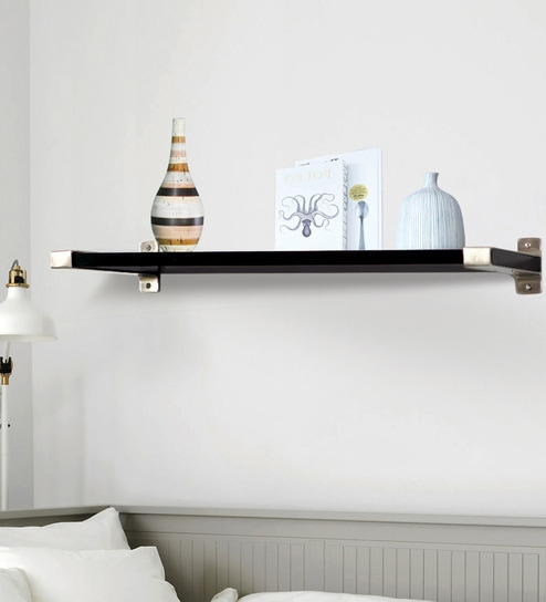 buy black silver laminated wood metal brackets with rh pepperfry com  silver floating wall shelves