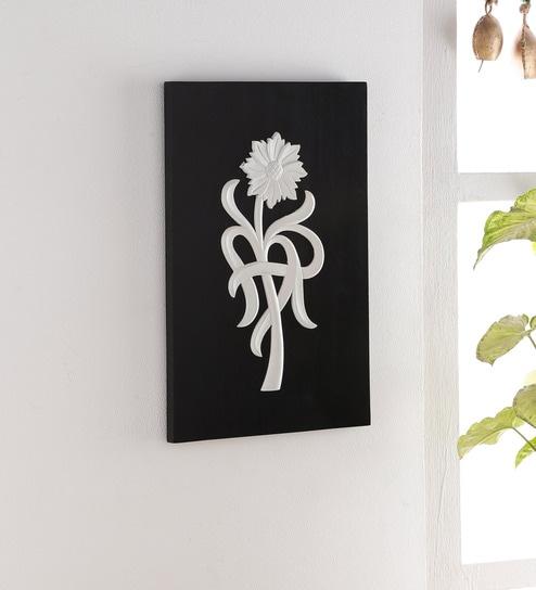 Black Silver Wood Flower Wall Art By Weald Heritage