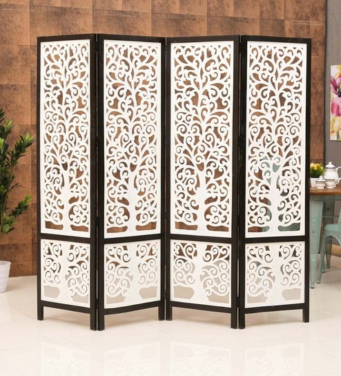 Black White Wooden 4 Panel Room Divider By Meval Arts