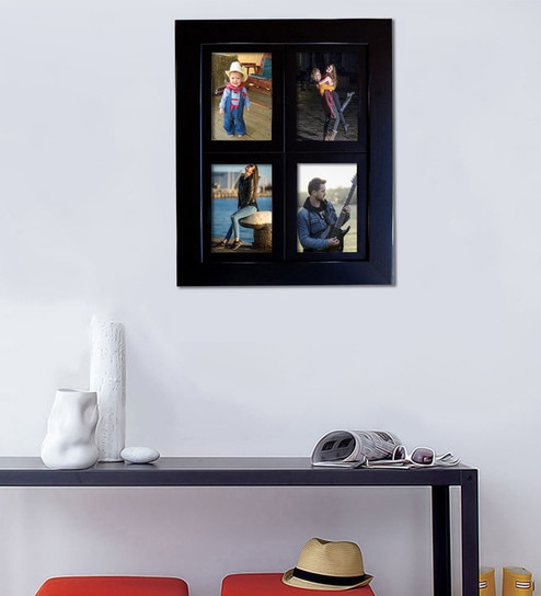 Buy Black 12X 0.5X 16 Inch Synthetic Wood Wall Mounted Collage Photo ...