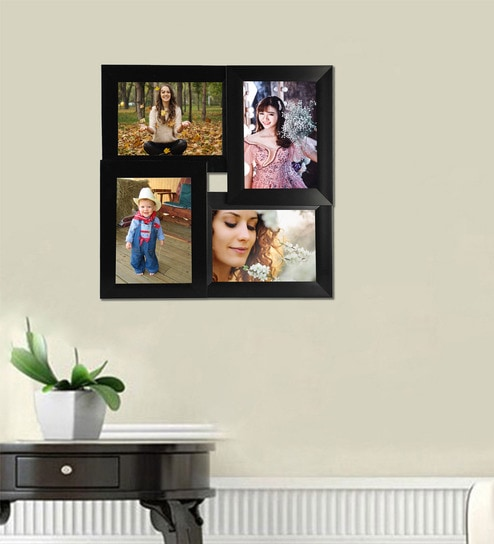 Buy Black 13X 0.5X 13 Inch Synthetic Wood Wall Mounted Collage Photo ...