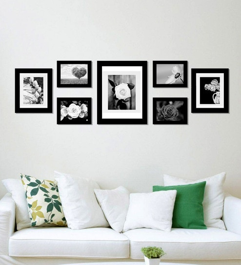 Buy Black 53X 0.5X 15 Inch Synthetic Wood Set Of 7 Picture Frames By ...