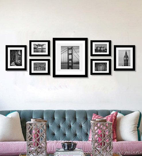 Buy Black 60X 0.5X 18 Inch Synthetic Wood Set Of 7 Collage Frames By ...