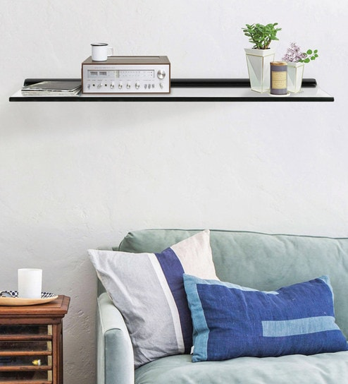 Buy Glass Fixed Bracket Wall Shelves In Black Colour By Deco Home