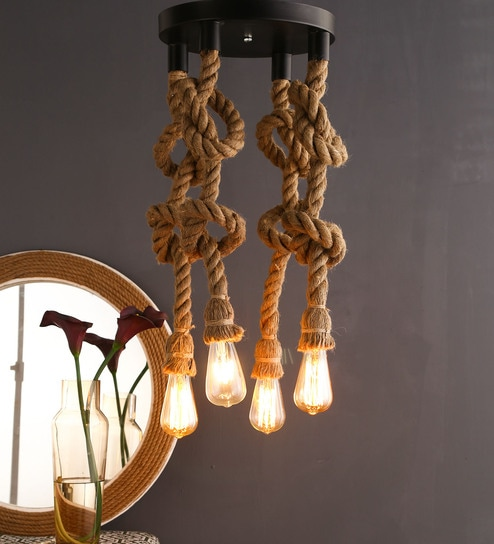 6f4a1852ea89 Buy Black and Brown Rope Hanging Light With Filament Bulbs by Homesake  Online - Eclectic Hanging Lights - Hanging Lights - Lamps & Lighting -  Pepperfry ...