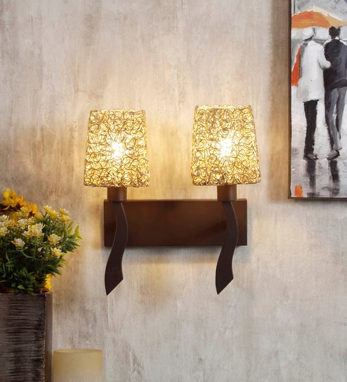 Black and Gold Metal and Glass Wall Light by Jainsons Emporio