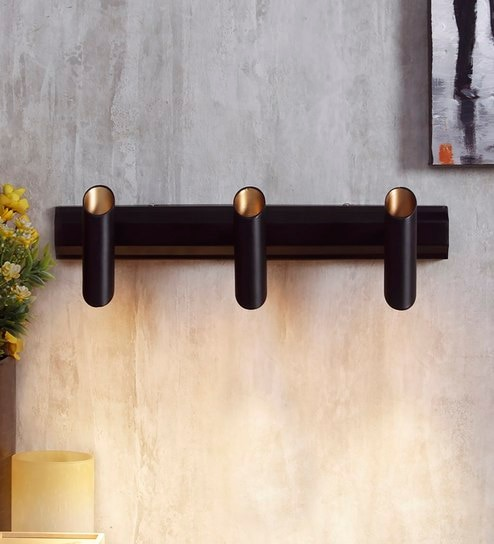 Black and Gold Metal Wall Light by Jainsons Emporio