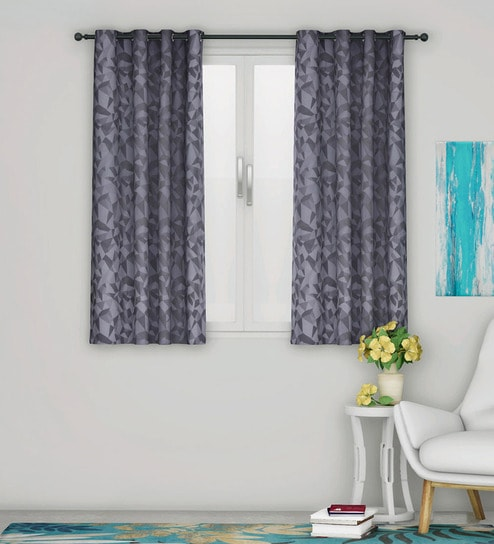 Superb Black Blackout Polyester 5 Feet Eyelet Window Curtains Set Of 2 By Home Bralicious Painted Fabric Chair Ideas Braliciousco