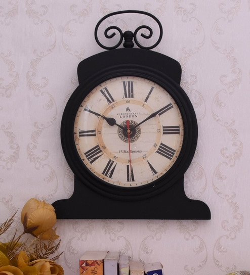 Black Engineered Wood And Iron Wall Clock By Home Sparkle