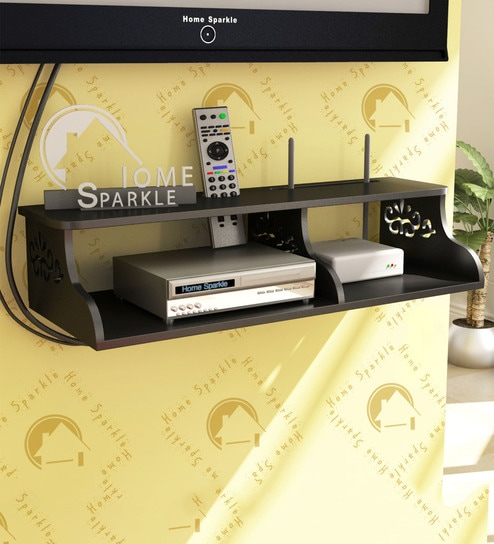 Wall Mountable Set-Top Box cum Wi-Fi Router Holder in Black Finish by Home  Sparkle