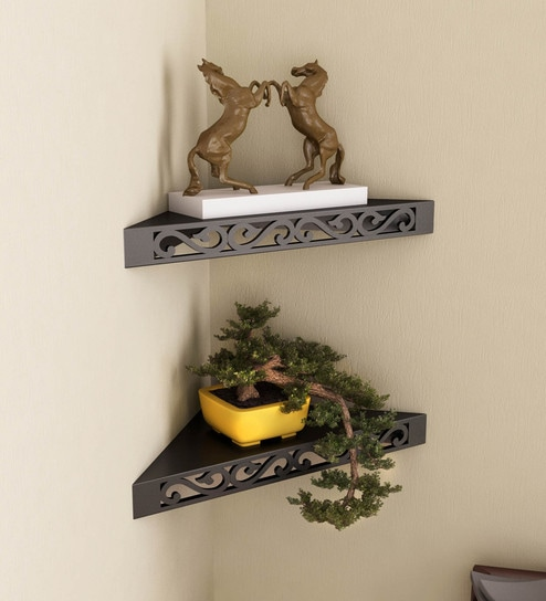 Corner Wall Shelf Set Of 2 In Black Finish By Home Sparkle