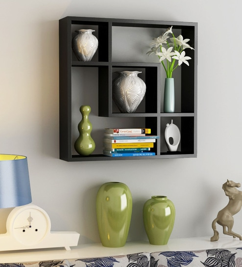 Buy Engineered Wood Square Five Section Wall Shelf In Black Colour By Home Sparkle Online Modern Wall Shelves Wall Shelves Home Decor Pepperfry Product